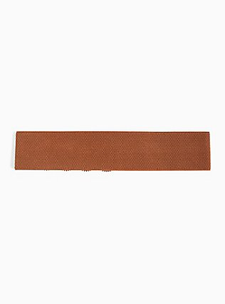 Cognac Faux Leather Scalloped Studded Belt, BROWN, alternate