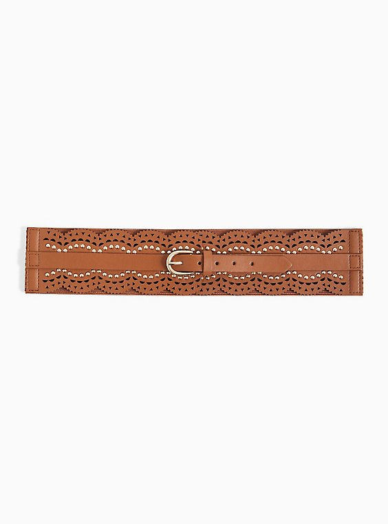 Cognac Faux Leather Scalloped Studded Belt, , hi-res