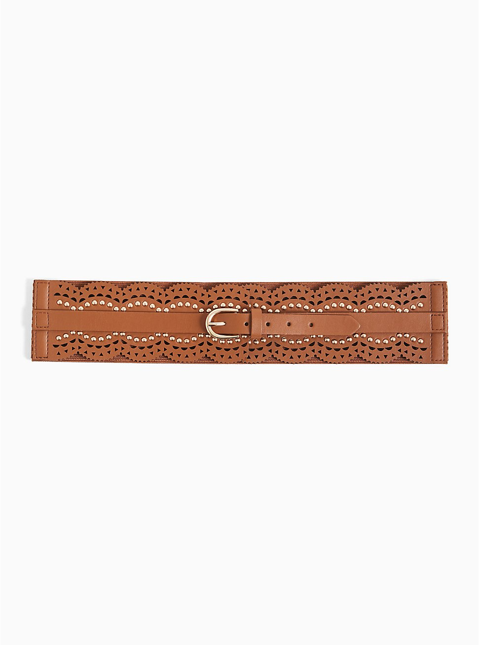Cognac Faux Leather Scalloped Studded Belt, BROWN, hi-res