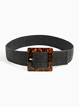Plus Size Black Straw Tortoiseshell Buckle Belt, BLACK, alternate