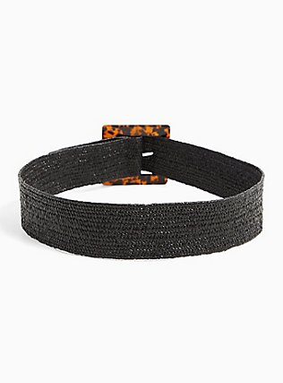 Black Straw Tortoiseshell Buckle Belt, BLACK, alternate