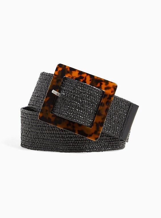 Plus Size Black Straw Tortoiseshell Buckle Belt, , hi-res