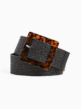 Plus Size Black Straw Tortoiseshell Buckle Belt, BLACK, hi-res