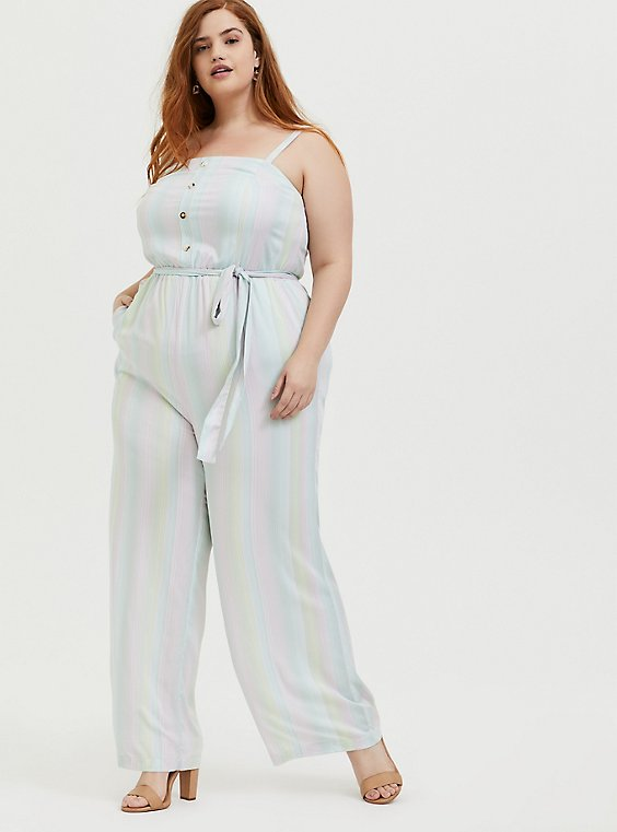 Plus Size Her Universe Disney The Little Mermaid Ariel Challis Multi Stripe Jumpsuit , , hi-res