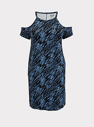 Her Universe Marvel Avengers Blue Cold Shoulder Dress, BLUE BLACK, flat