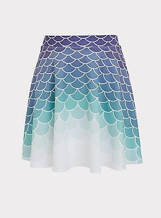 Plus Size Her Universe Disney The Little Mermaid Ariel Scale Scuba Knit Mini Skirt , MULTI, flat