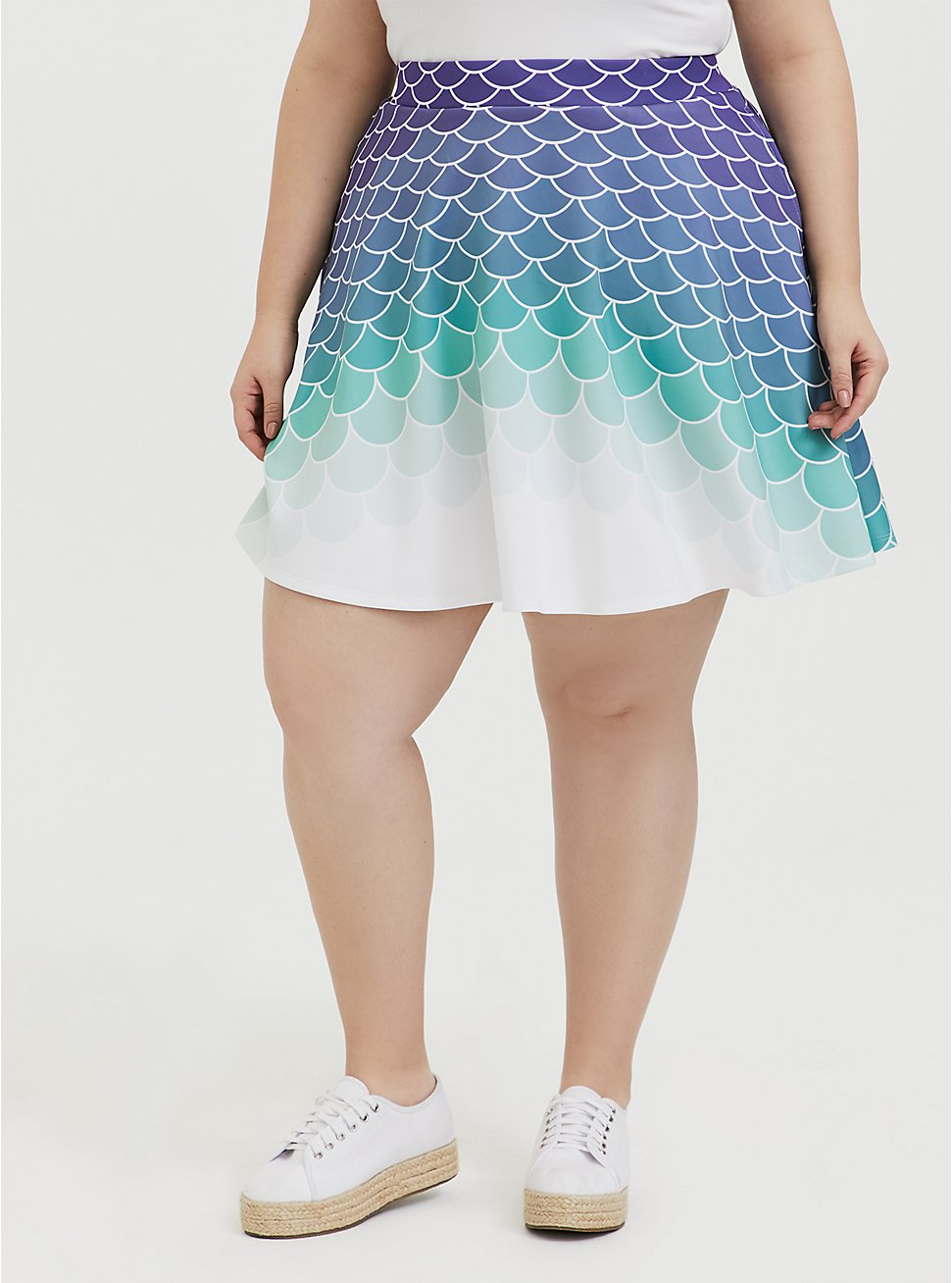 Her Universe Disney The Little Mermaid Ariel Scale Scuba Knit Mini Skirt , MULTI, hi-res