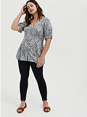 Plus Size Disney Alice In Wonderland Ruffle Sleeve Button Down Top, MULTI, alternate