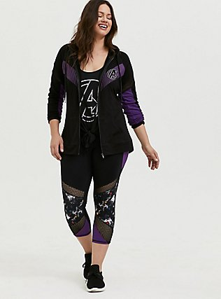Her Universe Marvel Avengers Galaxy Print Crop Active Legging with Pockets, DEEP BLACK, alternate