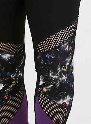 Plus Size Her Universe Marvel Avengers Galaxy Print Crop Active Legging with Pockets, DEEP BLACK, alternate