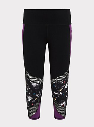 Plus Size Her Universe Marvel Avengers Galaxy Print Crop Active Legging with Pockets, DEEP BLACK, flat