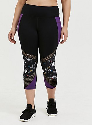 Her Universe Marvel Avengers Galaxy Print Crop Active Legging with Pockets, DEEP BLACK, hi-res