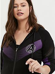 Her Universe Marvel Avengers Black & Purple Active Zip Hoodie , DEEP BLACK, alternate