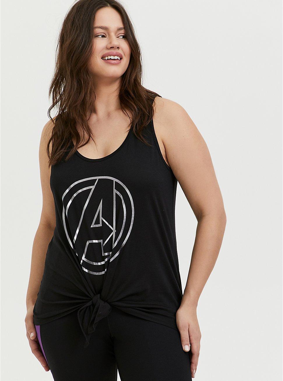 Her Universe Marvel Avengers Black Tie Front Active Tank , DEEP BLACK, hi-res