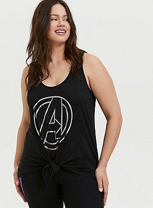 Plus Size Her Universe Marvel Avengers Black Tie Front Active Tank , DEEP BLACK, hi-res