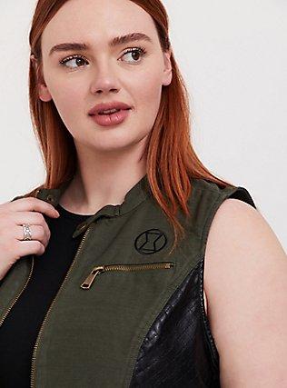 Plus Size Her Universe Marvel Black Widow Olive Green Twill Vest, DEEP DEPTHS, alternate