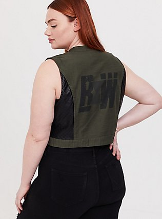 Her Universe Marvel Black Widow Olive Green Twill Vest, DEEP DEPTHS, alternate