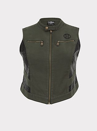 Her Universe Marvel Black Widow Olive Green Twill Vest, DEEP DEPTHS, flat