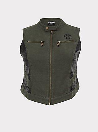 Plus Size Her Universe Marvel Black Widow Olive Green Twill Vest, DEEP DEPTHS, flat