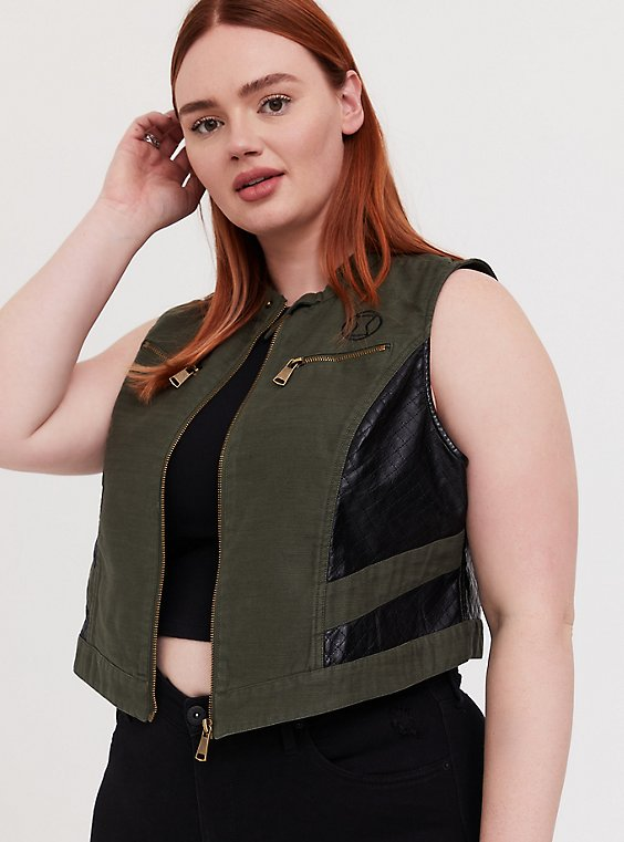 Plus Size Her Universe Marvel Black Widow Olive Green Twill Vest, , hi-res