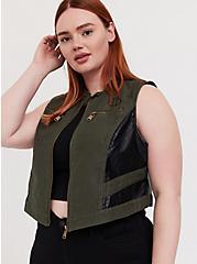 Her Universe Marvel Black Widow Olive Green Twill Vest, DEEP DEPTHS, hi-res
