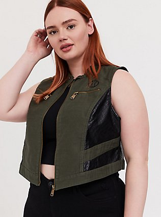Plus Size Her Universe Marvel Black Widow Olive Green Twill Vest, DEEP DEPTHS, hi-res