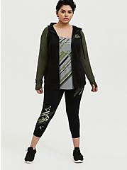 Jurassic World Black & Green Crop Active Legging with Pockets, DEEP BLACK, alternate