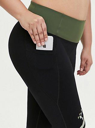 Jurassic World Black & Green Crop Active Legging with Pockets, DEEP BLACK, alternate