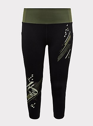 Jurassic World Black & Green Crop Active Legging with Pockets, DEEP BLACK, flat
