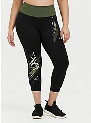 Jurassic World Black & Green Crop Active Legging with Pockets, DEEP BLACK, hi-res