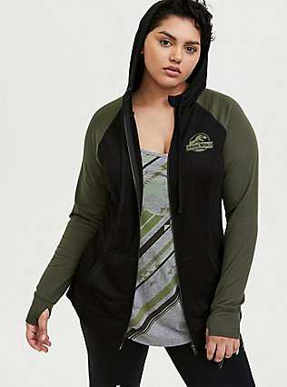 Jurassic World Roar Terry Black & Green Active Zip Hoodie , DEEP BLACK, alternate