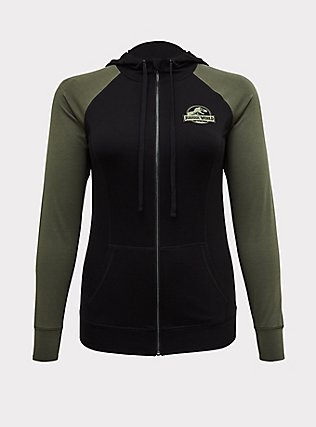 Jurassic World Roar Terry Black & Green Active Zip Hoodie , DEEP BLACK, flat