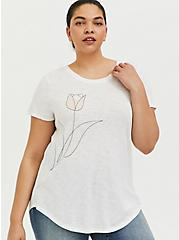 Classic Fit Crew Tee - Heritage Slub Tulip White, CLOUD DANCER, hi-res