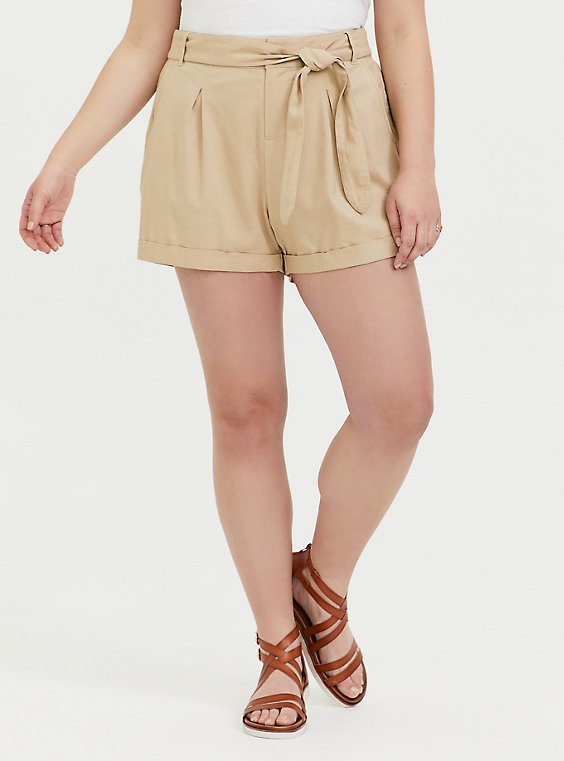 Plus Size Self Tie Short Short - Linen Tan, , hi-res