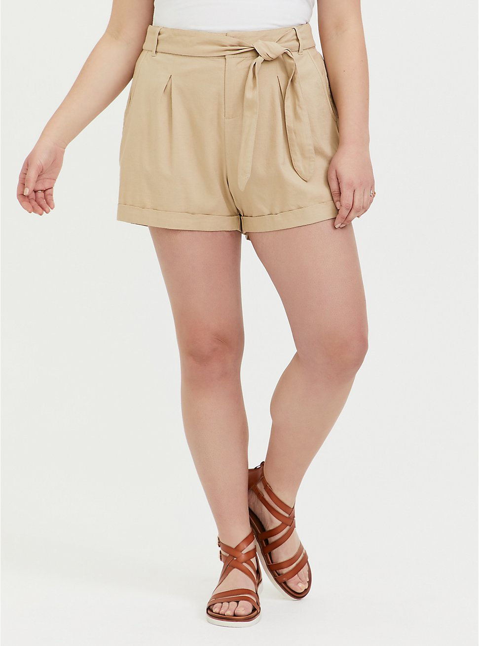 Self Tie Short Short - Linen Beige, TAN/BEIGE, hi-res