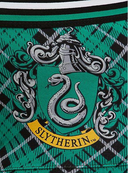 Harry Potter Slytherin Green Plaid & Black Cotton Boyshort Panty, MULTI, alternate