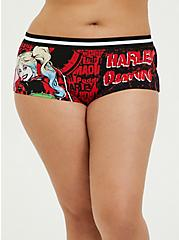 Harley Quinn Black Comic Cotton Boyshort Panty, MULTI, hi-res