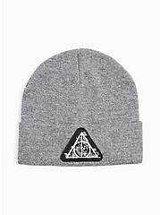 Harry Potter Deathly Hallows Grey Embroidered Beanie, , alternate