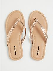 Rose Gold Faux Leather Braided Flip Flop (WW), ROSE GOLD, alternate