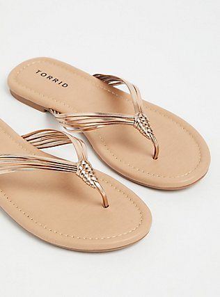 Plus Size Rose Gold Faux Leather Braided Flip Flop (WW), ROSE GOLD, alternate