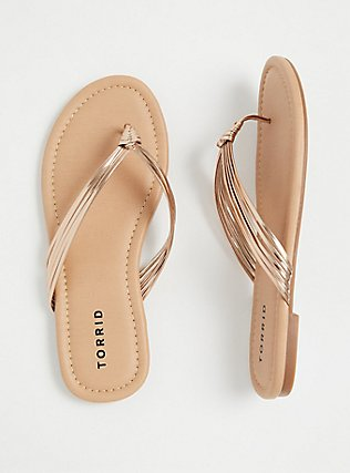 Plus Size Rose Gold Faux Leather Braided Flip Flop (WW), ROSE GOLD, hi-res
