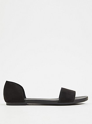 Black Faux Suede Open Toe D'Orsay Flat (WW), BLACK, alternate