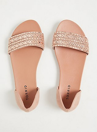 Blush Faux Suede Rhinestone Open Toe D'Orsay Flat (WW), BLUSH, alternate