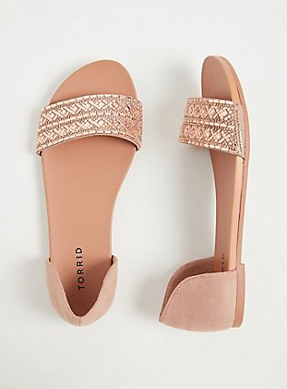 Blush Faux Suede Rhinestone Open Toe D'Orsay Flat (WW), BLUSH, hi-res