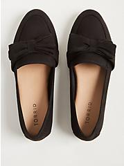 Black Faux Suede Bow Loafer (WW), BLACK, alternate