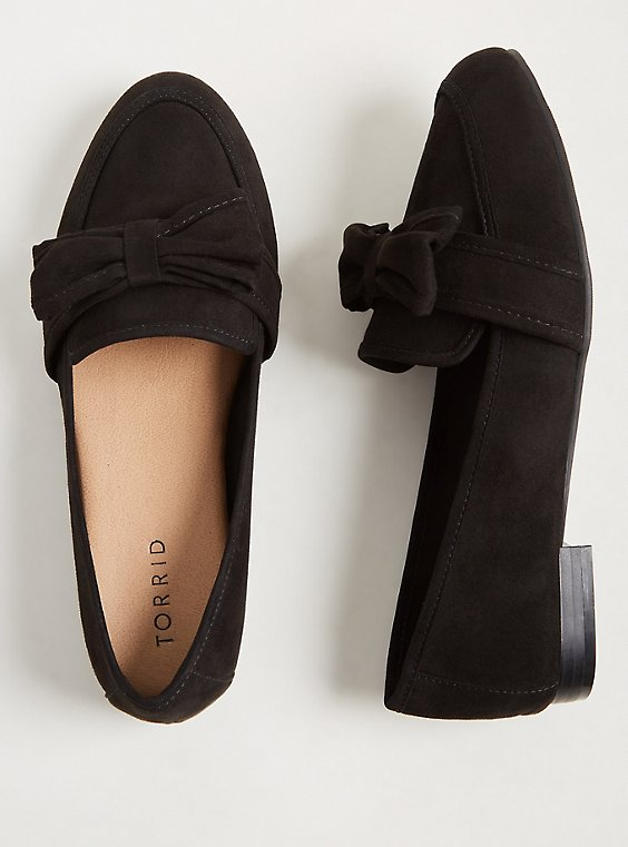 Black Faux Suede Bow Loafer (WW), , hi-res