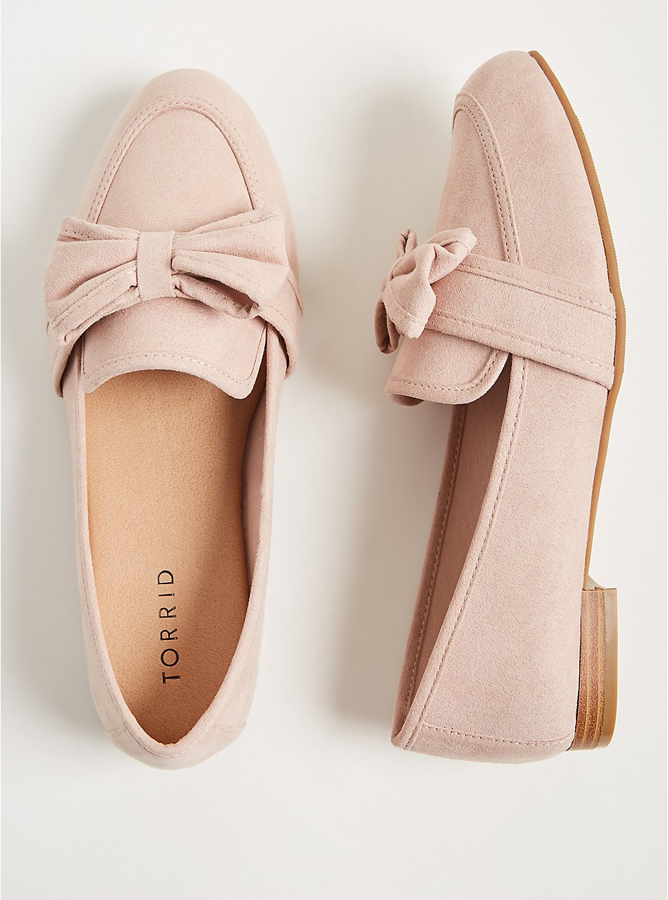 Blush Faux Suede Bow Loafer (WW), , hi-res