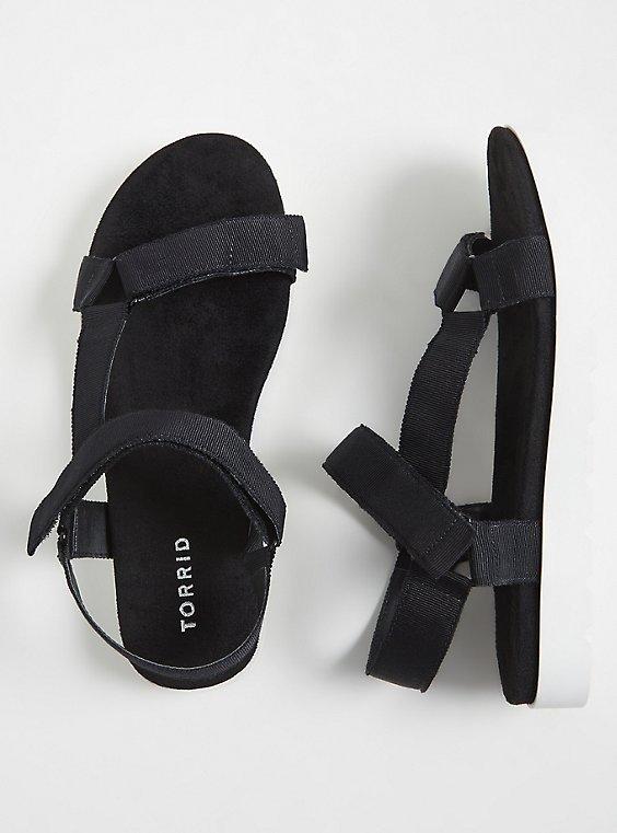 Plus Size Black Gladiator Flatform Sandals (WW), , hi-res