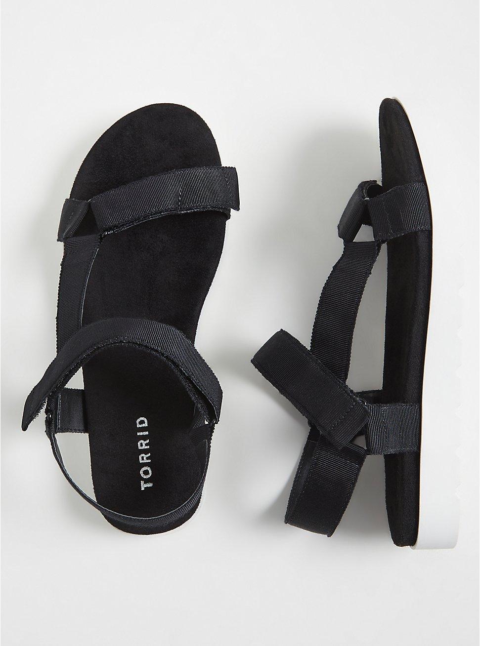 Black Gladiator Flatform Sandals (WW), BLACK, hi-res
