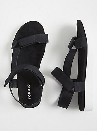 Black Gladiator Flatform Sandals (WW), BLACK, hi-res
